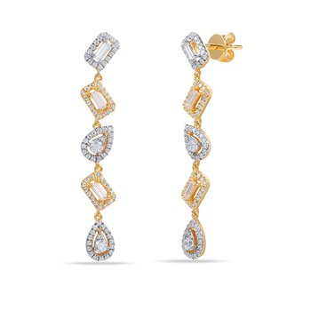 14K multi shape drop Earrings 168 round diamonds 0.55C & 6 baguette 0.25C
