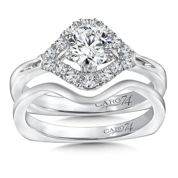 Modernistic Collection Six-Prong Engagement Ring With Diamond Side Stones in 14K White Gold with Platinum Head (5/8ct. tw.)