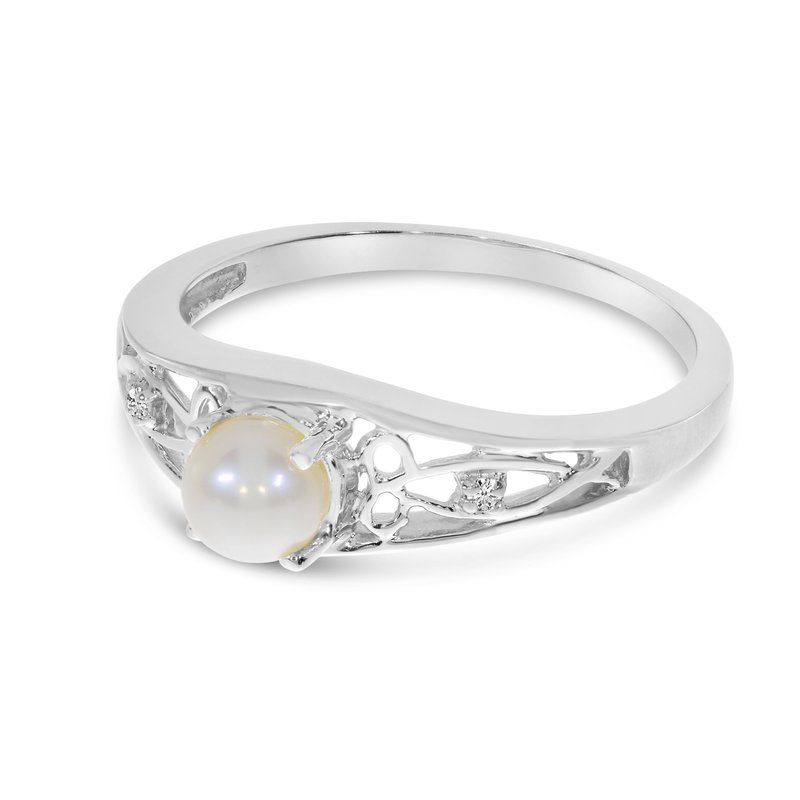 Color Merchants 10k White Gold Freshwater Cultured Pearl And Diamond Ring