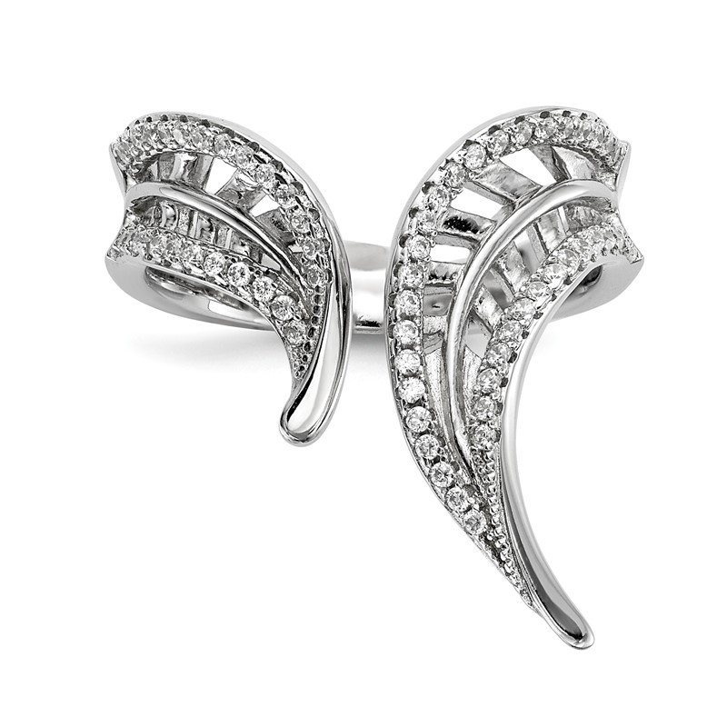 Quality Gold Sterling Silver Rhodium-plated CZ Adjustable Leaf Ring