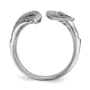 Sterling Silver Rhodium-plated CZ Adjustable Leaf Ring