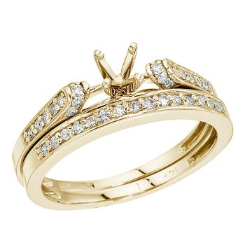 14K Yellow Gold Bridal Ring Set