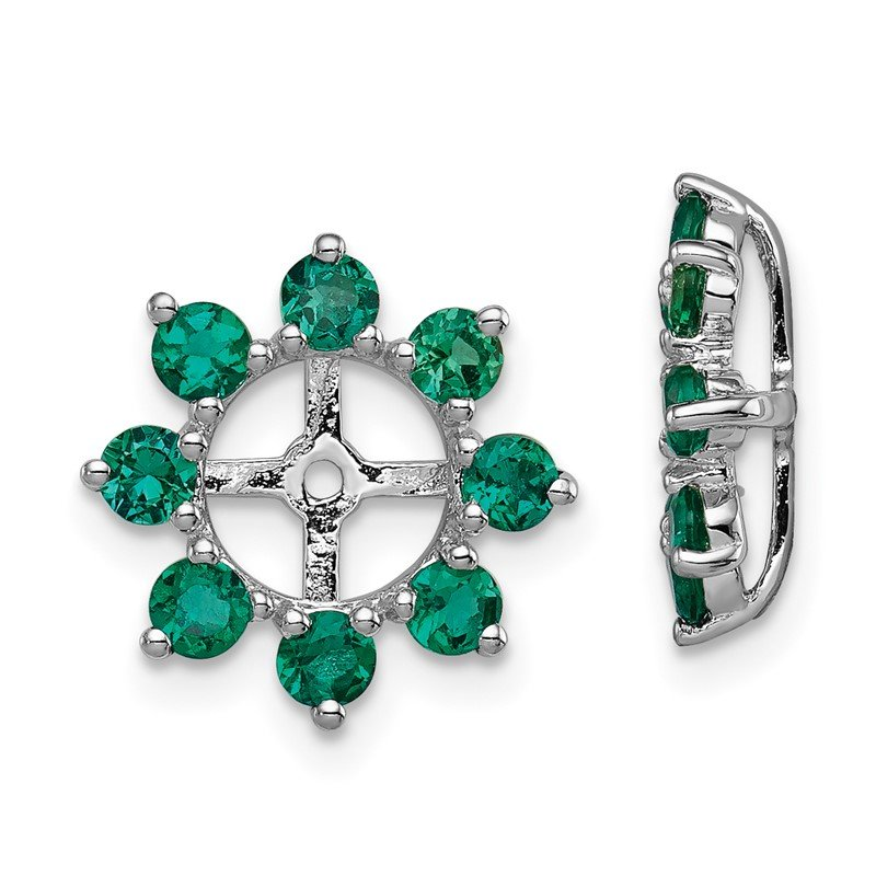 Quality Gold Sterling Silver Rhodium Created Emerald Earring Jacket