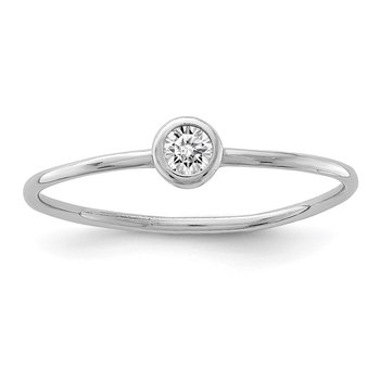 Sterling Silver Rhodium-plated Polished CZ Circle Ring