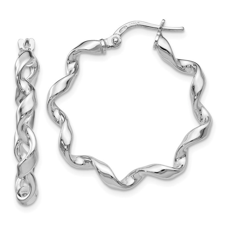 Leslie's Leslie's Sterling Silver Polished Twisted Hoop Earrings