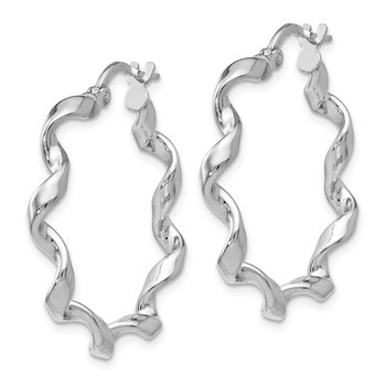 Leslie's Sterling Silver Polished Twisted Hoop Earrings