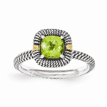 Sterling Silver w/14ky Peridot Cushion Ring
