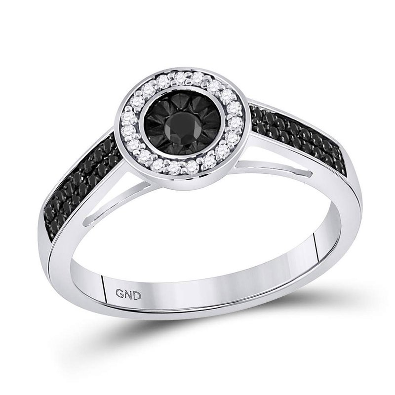 Kingdom Treasures Sterling Silver Womens Round Black Color Enhanced Diamond Solitaire Ring 1/4 Cttw