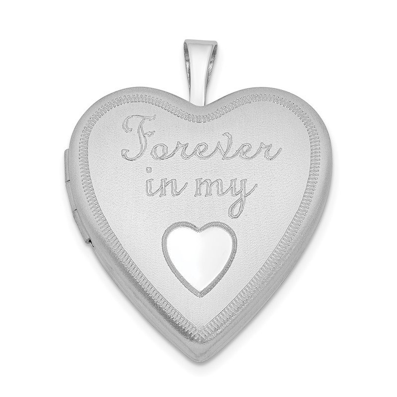 Quality Gold Sterling Silver Rhodium-plated 20mm Forever In My Heart Locket