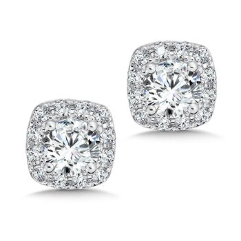 Diamond Cushion Halo Studs in14K White Gold with Platinum Post (1/2ct. tw.)