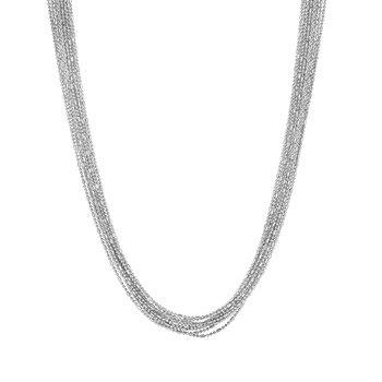 Silver Bead & Bar Chain Multistrand Necklace