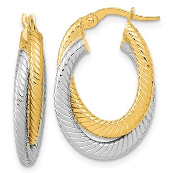 14k Two-tone Polished Textured Double Oval Hoop Earrings