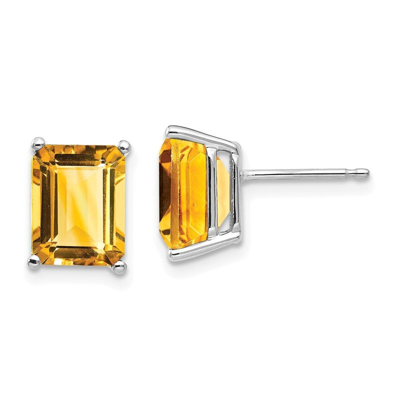 Quality Gold 14k White Gold 9x7mm Emerald Cut Citrine Earrings