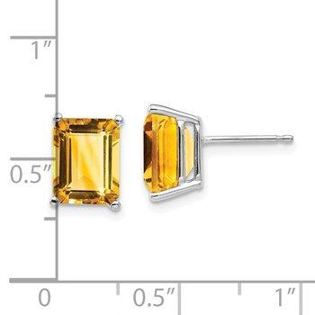 14k White Gold 9x7mm Emerald Cut Citrine Earrings
