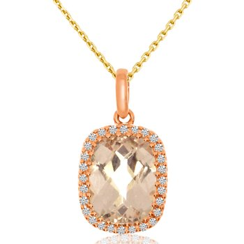 14k Rose Gold Cushion Morganite Pendant