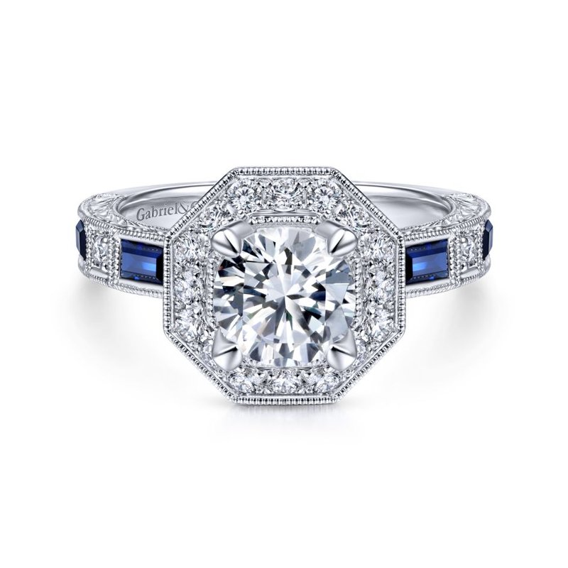 Gabriel Bridal Art Deco 14K White Gold Octagonal Halo Round Sapphire and Diamond Engagement Ring