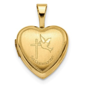 14K 12mm 1st Communion Heart Locket