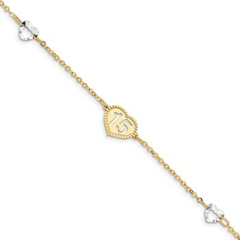 14K Two-tone Polished 15 Heart Bracelet