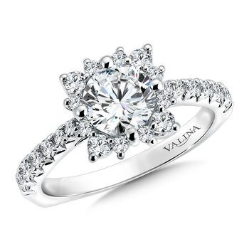 Floral shape halo .56 ct. tw., 1 ct. round center