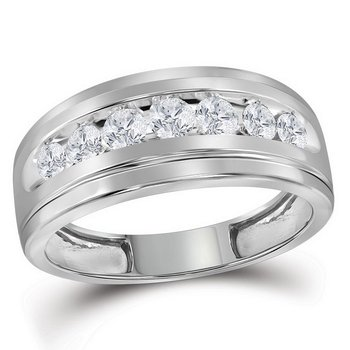 10kt White Gold Mens Round Channel-set Diamond Single Row Wedding Band Ring 3/4 Cttw