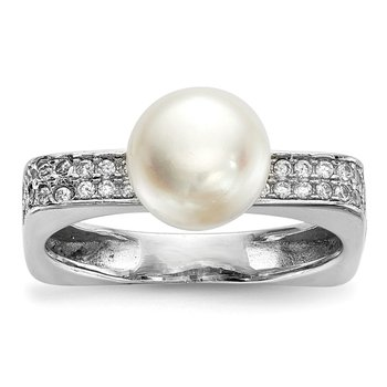 Sterling Silver RH 8-9mm White Button FWC Pearl CZ Square Ring