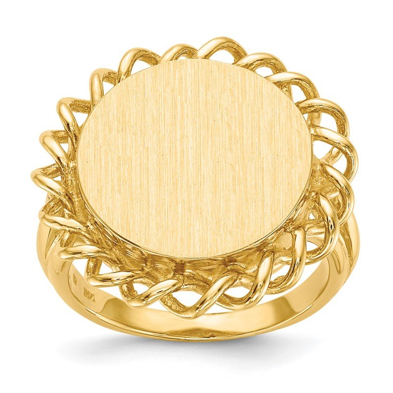 Quality Gold 14k 14.5x15.0mm Open Back Signet Ring
