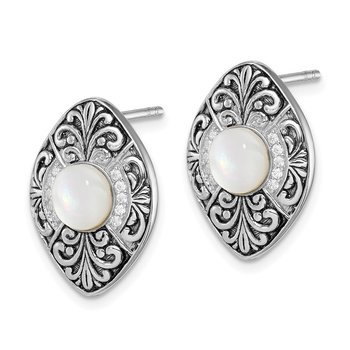 Sterling Silver Rhodium-plated Oxidized MOP and CZ Post Earrings