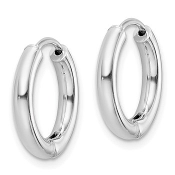 Sterling Silver Polished Hollow Hinged Hoop Earrings