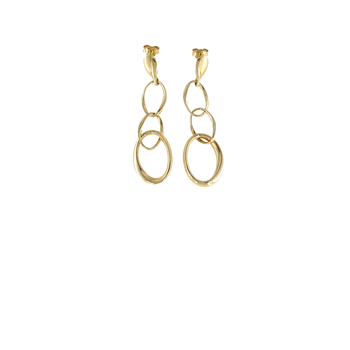 18KT GOLD 3 OVAL LINK EARRINGS