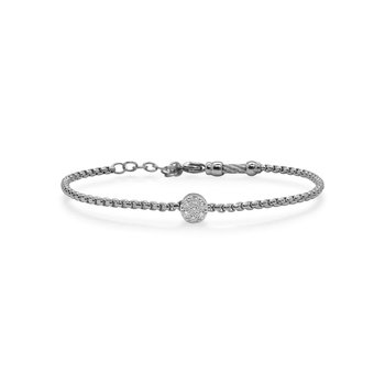 Grey Chain Expressions Bracelet with Round Diamond Station set in 14kt White Gold
