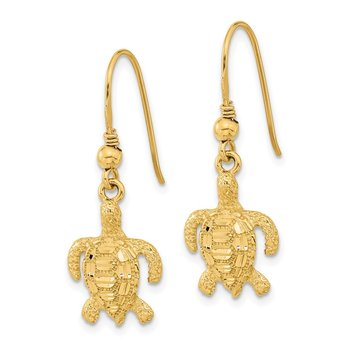 14k Polished & Textured Diamond-cut Turtle Shepherd Hook Earrings