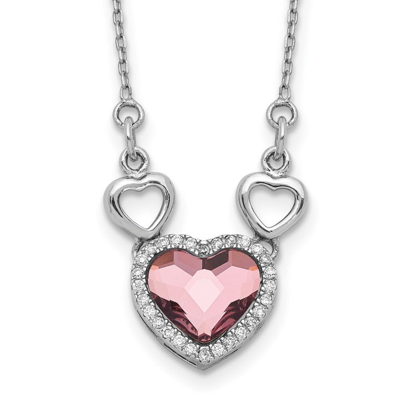 Quality Gold Sterling Silver RH-plated Clear/Pink Crystal Heart w/2in ext Necklace