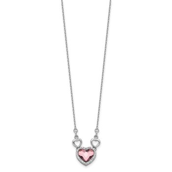Sterling Silver RH-plated Clear/Pink Crystal Heart w/2in ext Necklace
