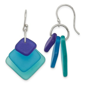 Sterling Silver Blue Gradient Sea Glass Dangle Earrings