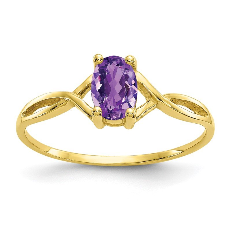 Quality Gold 10k Polished Geniune Amethyst Birthstone Ring