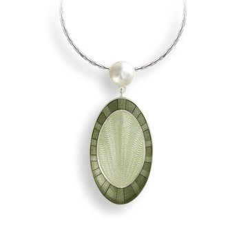 Green Oval Necklace.Sterling Silver-Freshwater Pearl