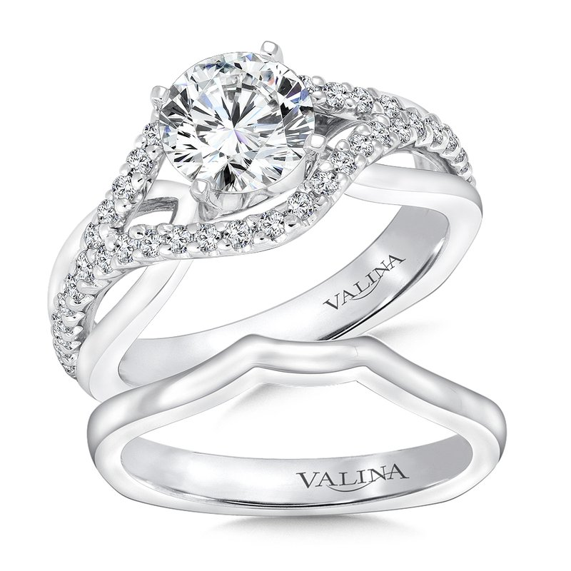 Valina Mounting with side stones .37 ct. tw., 1 ct. round center.