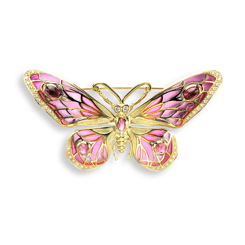 Nicole Barr Designs Red Butterfly Brooch.18K -Diamonds and Pink Tourmaline - Plique-a-Jour