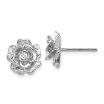 14k White Gold AA Diamond Flower Post Earrings