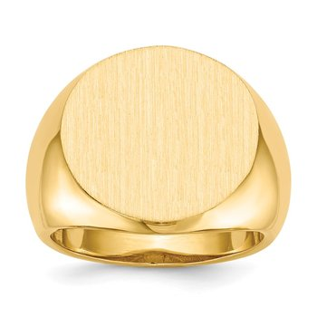 14k 18.0x18.0mm Open Back Mens Signet Ring