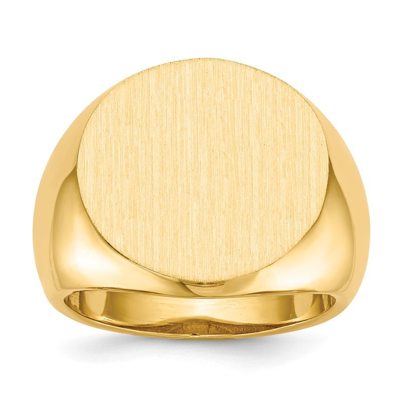 Quality Gold 14k 18.0x18.0mm Open Back Mens Signet Ring
