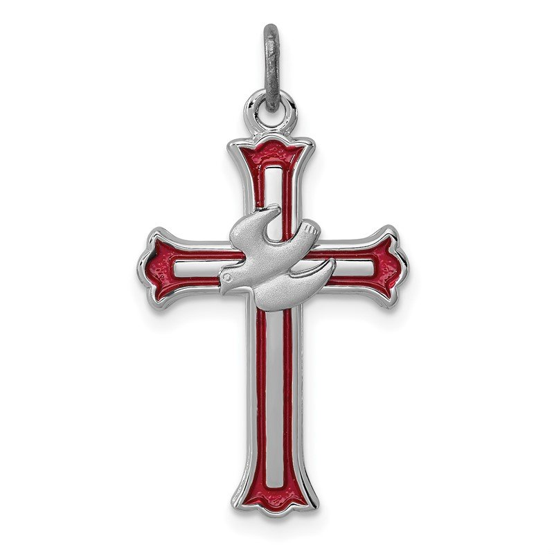 Quality Gold Sterling Silver Rhodium-plated Enameled Cross w/Dove Charm