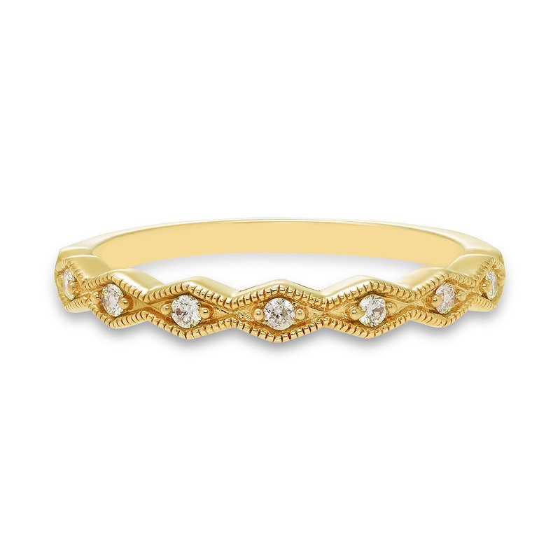 Geometric yellow gold & diamond stackable band