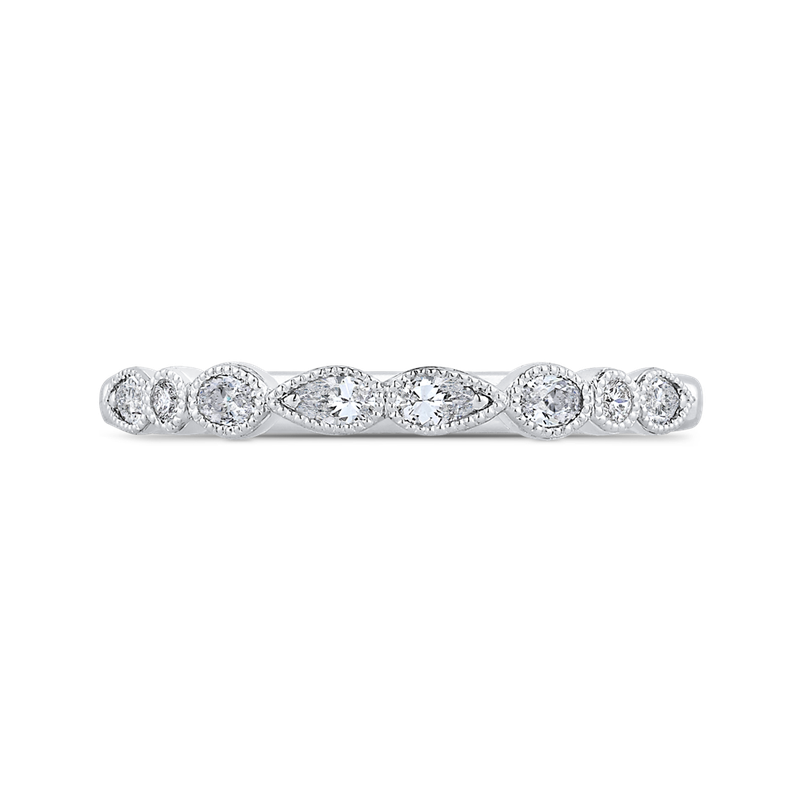 Carizza 14K White Gold Pear Oval and Round Diamond Wedding Band