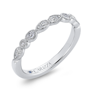 14K White Gold Pear Oval and Round Diamond Wedding Band