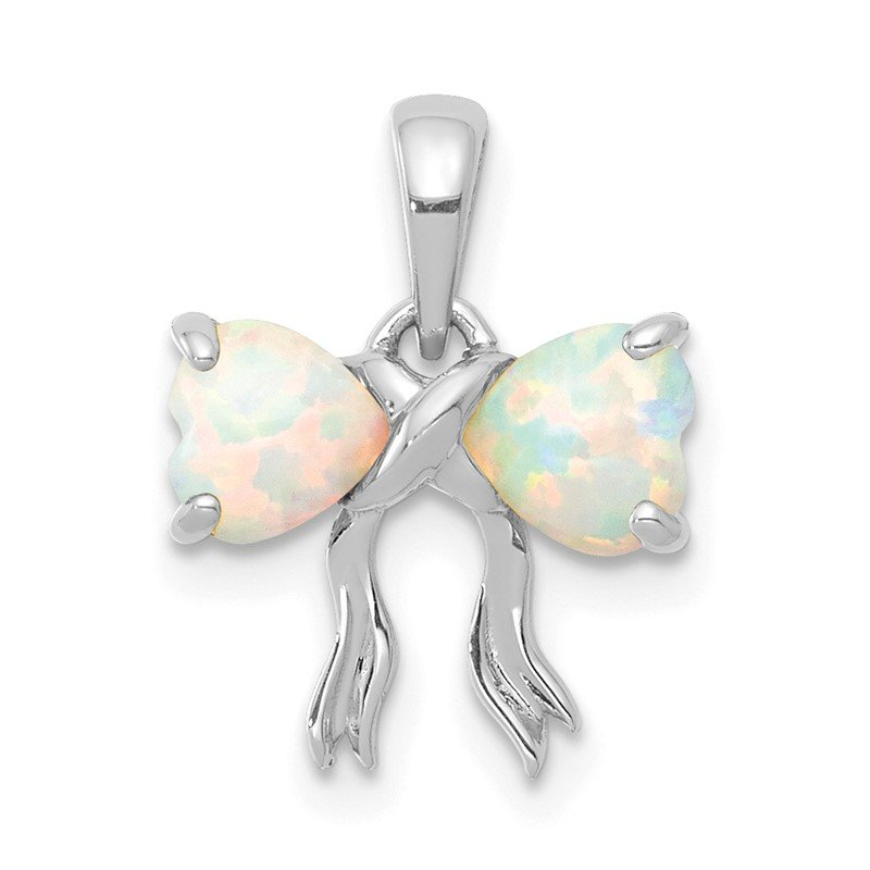 Quality Gold 14k White Polished Created Opal Bow Pendant