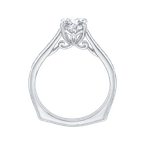 Carizza 14K White Gold Round Diamond Solitaire with Accents Engagement Ring (Semi-Mount)