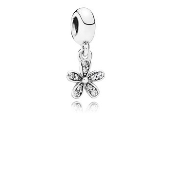 Dazzling Daisy Dangle Charm, Clear CZ