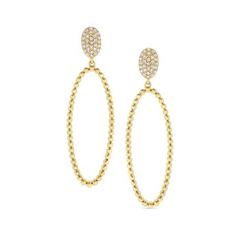 14K Caviar Beaded Large Oval Drop Earrings