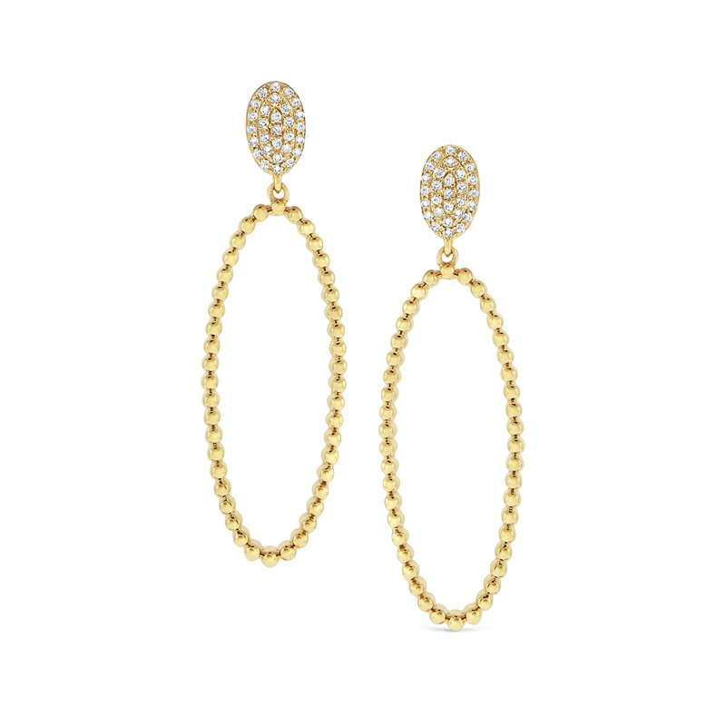 KC Designs 14K Caviar Beaded Large Oval Drop Earrings